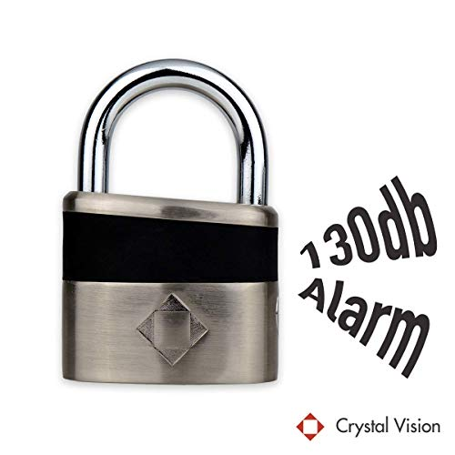 Crystal Vision SHPLA Weather Proof Anti Theft Loud 130db Alarm 10mm Heavy Duty Padlock for Multi Purpose. Auto Arm & Disarm, Alarm Lock, Siren Lock, Gun Safe, Truck Lock, Warehouse Lock, Tool Box
