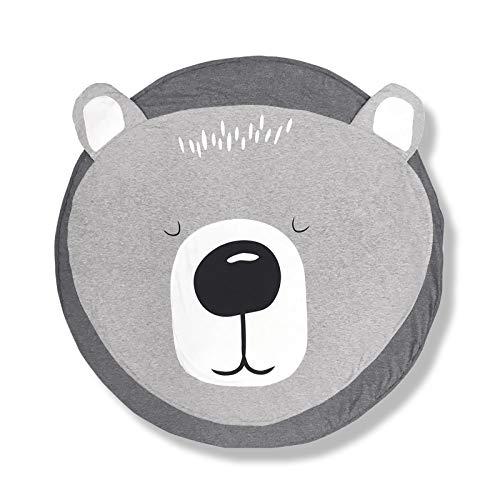 AGUDOU Baumwolle Baby krabbeldecke, Weiche Cartoon Spielmatte für Kinder, Groß Spieldecke Teppich kinderzimmer Dekoration, Runder tragbarer Crawl Spielmatten für Spiel, Krabbelteppich, 90x90cm