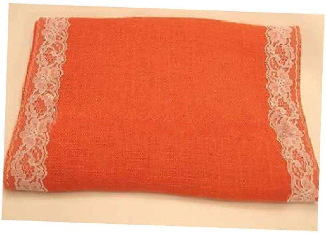 Fabric Tangerine Colored Burlap Table Runner 14 X 72 With 2 White Lace Borders