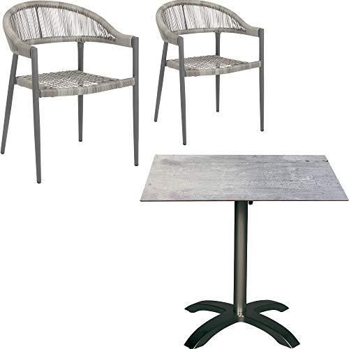 Acamp Gartenmöbel Set | 3tlg. | 2 Stapelstühle Brooklyn 56x58x78 cm | 1 Klapptisch Acaplan 80x80x72 cm | Stühle mit Geflecht in Grau | HPL Tischplatte 6 mm in Cemento Grigio