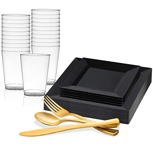 Kaya Collection - Square Black Disposable Plastic Dinnerware Party Package - Includes Dinner Plates, Salad/Dessert Plates, Gold Cutlery, Tumblers (120 Person Package)