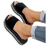 Aniywn Women's Open Toe Platform Sandals Comfort Flat Sandals Summer Platform Slide Sandals Beach Walking Shoes Black