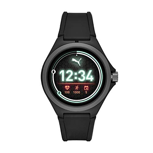 PUMA Sport Smartwatch Lightweight Touchscreen mit Herzfrequenz, GPS, NFC und Smartphone Benachrichtigungen 44mm schwarz