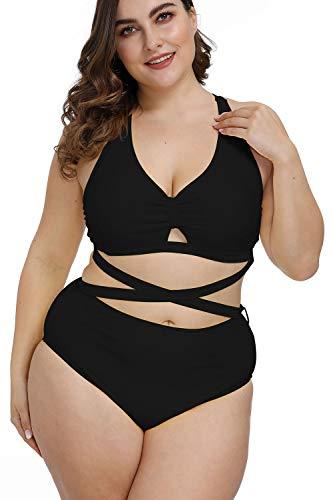 Kisscynest Women's Plus Size Swimwear 2 Piece High Waisted Swimsuits Black 4XL
