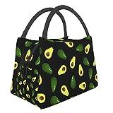 Teery-YY Bolsa de almuerzo verde aguacates bolsa portátil a prueba de fugas para mujeres, hombres, niños, niñas, bolso resistente al agua, para oficina, escuela, trabajo, picnic, viajes