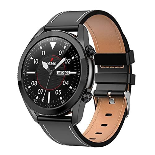 M/S I12 1.3 Pulgadas Reloj Inteligente con Pantalla táctil Ritmo cardíaco a Prueba de Agua con Llamada telefónica Correa de Cuero Negro 1.3 Pulgadas