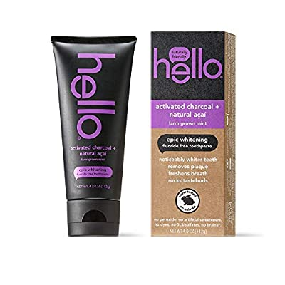 hello Activated Charcoal Whitening Fluoride Free Toothpaste, sls Free and Vegan, 4oz