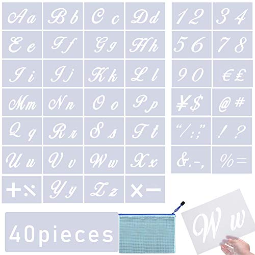 BHAHAI 40 PCS Art Letter Stencils, Alphabet Stencils Templates Calligraphy Upper and Lowercase Letters Plastic Art Craft Stencils with Numbers and Signs Painting Letter Stencils on Wood