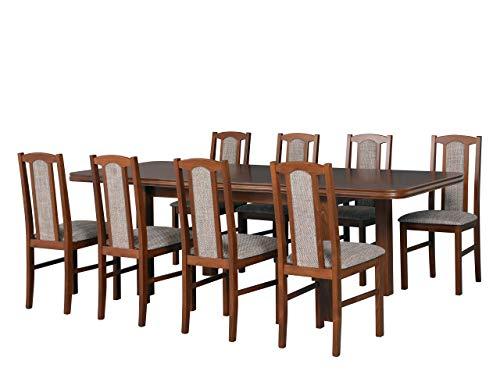 Mirjan24 Esstisch mit 8 Stühlen DM49, Sitzgruppe, Küchentisch, Esstischgruppe, Esszimmer Set, Esstisch Stuhlset, Esszimmergarnitur, DMXZ (Nuss/Nuss Berlin 03)