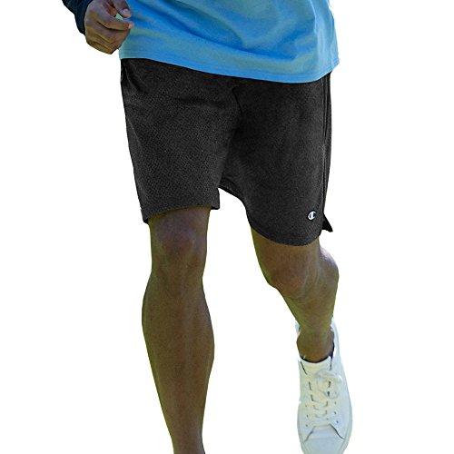 Champion Men's Long Mesh Shorts with Pockets, Black, Small