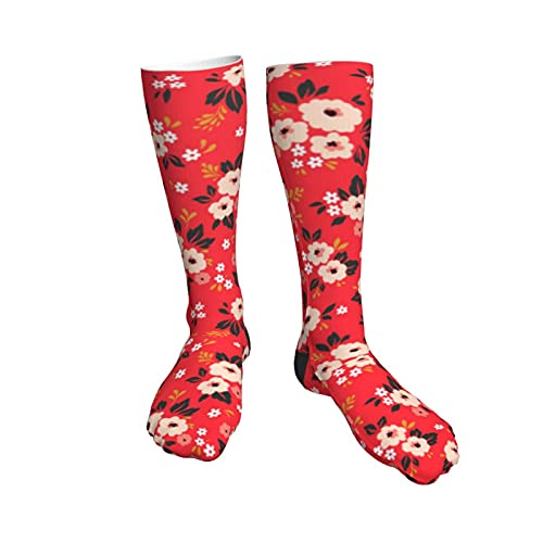 Ditsy Floral Red White And Pink Flowers Womens Socks,50cm Athletic Tube Socks Over The Calf Stockings Non See Through Cute Cartoon Thigh High Stockings Comfort Breathable Casual Socks