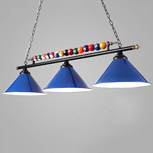 Billiard Kronleuchter, Led Persönlichkeit Schmiedeeisen Billiard Raum Lampenschirm, American Black Eight Snooker Lampen - 3 Lichtquellen (Farbe : Blau)
