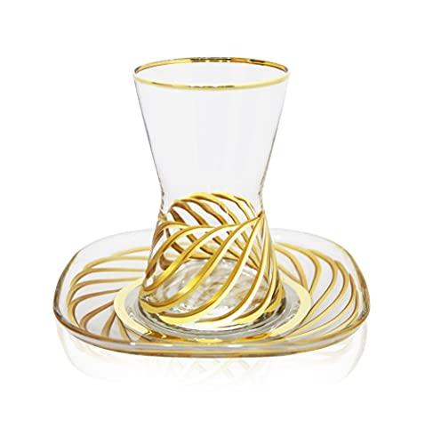 Juego de té de 12 piezas hecho a mano con bordado en oro, diseño espiral, diseño simétrico, juego de té turco, vaso de bebida caliente, vidrio especial preservación del calor, diseño simétrico, 5 té