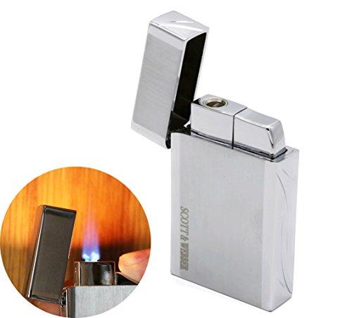 Scott & Webber - Encendedor de Gas de Tormenta plata 100% Metal con a prueba de Viento de alto rendimiento en llama de Jet / Pipa Encendedor, Cigarrillo, Cigarro / Cocina / Recargable / Ajustable