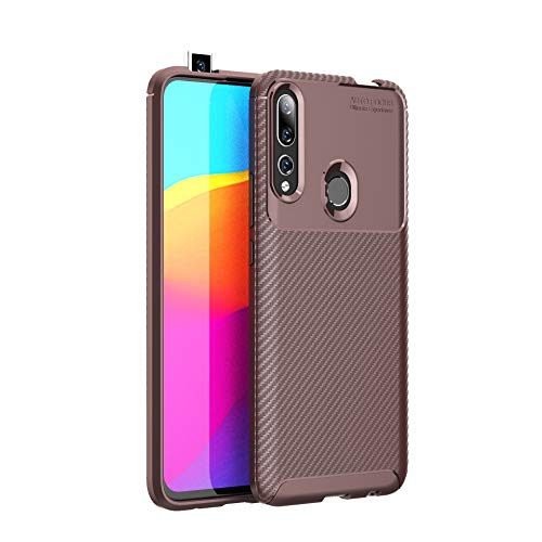 Huawei P Smart Z /Y9 Prime 2019 Case, Silicone Leather[Slim Thin] Flexible TPU Protective Case Shock Absorption Carbon Fiber Cover for Huawei P Smart Z /Y9 Prime 2019 Case (Brown)