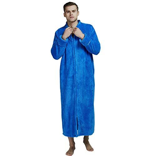 Invierno Cremallera mariscos Albornoz Terciopelo camisón Hombres Engrosamiento Pijamas Franela Servicio a Domicilio, como Imagen, L