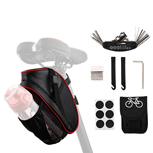 Gallao Bolsa Bicicleta Sillín de Impermeable de Material Especial Reflectante,Kit Parches Bici Autoadhesivo Reparación Neumáticos para MTB Bici Carretera Montaña Compatible con Botella de Agua