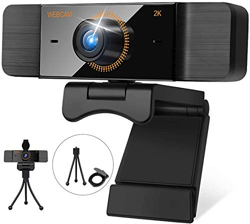 Webcam with Microphone 30FPS Full HD 2K 1440P Webcam with Privacy Cover and Tripod Wide Angle Video Camera for Computers PC Laptop Desktop USB Camera Conference Video Calling Streaming Webcams