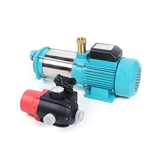 Bomba centrífuga Wangkangyi, 1300 W, protección de funcionamiento en seco, bomba de agua doméstica MHI1300 Inox, 6000 l/h, 5,5 bar, con cambio automático BRIO-SK13