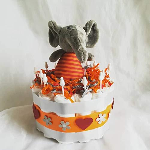 Windeltorte Windelwagen Elefant Geschenk, Babyparty, Geburt oder Taufe, auf Wunsch mit Grußkärtchen