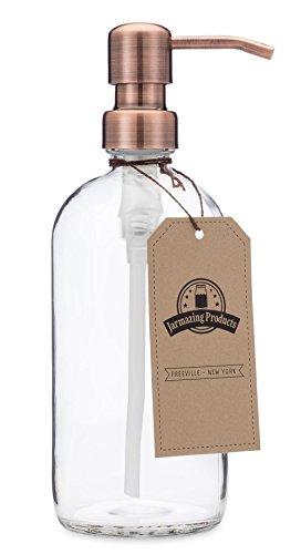 jarmazing Produkte Klar Glas Pint Jar Seife und Lotion Spender mit Metall Pumpe - Kupfer