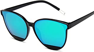 QWKLNRA - Gafas De Sol para Hombre Marco Negro Lente Verde Retro Espejo Gafas De Sol Mujer Hombre Lujo Vintage Ojo De Gato Gafas De Sol Negras contra-UV Uv400 Ciclismo Viajes Pesca Gafas De Sol Al Air