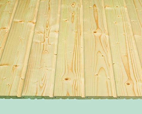 Rettenmeier 14x121x3000mm 2 (7 Bretter und Einer Deckfläche 1,76 M2 je Bund) Profilholz Softline Massivholzprofile für Wand und Decke Fichte/Tanne B-Qualität PEFC Zertifiziert, unbehandelt