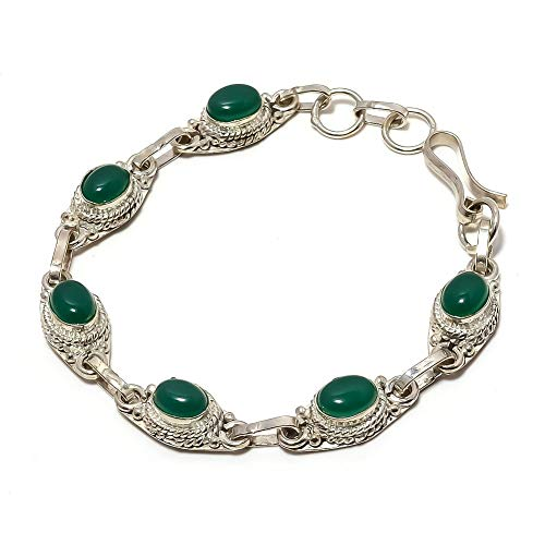 Oustanding! Green Onyx! Exotic Bracelet 7-9' Long, Silver Plated, Handmade Art Jewelry! Best Variety Store