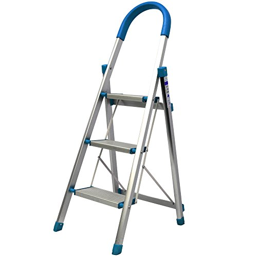 WEIMALL 脚立 3段 アルミ 軽量 折り畳み 耐荷重130kg 踏み台 はしご ステップ 持ち手付き (ブルー)