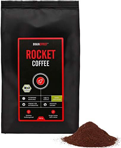 BRAINEFFECT ROCKET COFFEE 460g | BIO-Qualität | Ideal für Bulletproof Coffee | Erhöhter Koffeingehalt | 100% Gemahlene Robusta Bohnen | Vegan