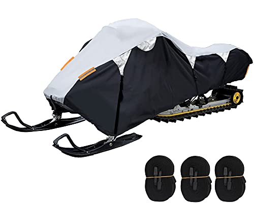 Waterproof Snowmobile Cover, Trailerable and Deluxe Universal Snowmobile Storage Cover for Arctic Cat, Ski-Doo, Polaris and Yamaha with X-Large Size up to 145''L