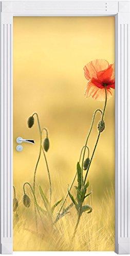 Stil.Zeit Möbel rote Blumen im Feld Tulpen Gemälde als Türtapete, Format: 200x90cm, Türbild, Türaufkleber, Tür Deko, Türsticker