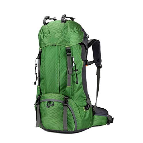 WLP-WF Großer Rucksack Reisen Wandern Camping Bergsteigen Rucksack Outdoor Männer Frauen Wasserdichte Gepäcktasche Leicht, A-Orange, 60L,B-Grün