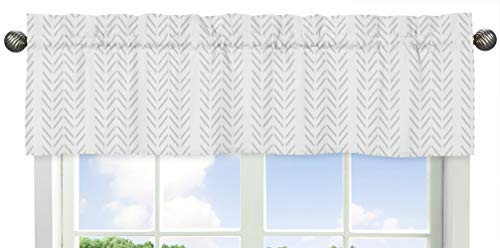 Sweet Jojo Designs Grey Chevron Arrow Window Treatment Valance - Gray and White Geometric Construction Truck Tire Print