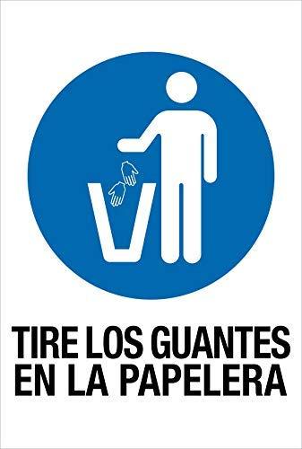 akrocard - Cartel Resistente PVC - TIRE LOS GUANTES EN LA PAPELERA - Señaletica COVID 19 medidas basicas de seguridad- señal Ideal para comercios, tiendas, locales