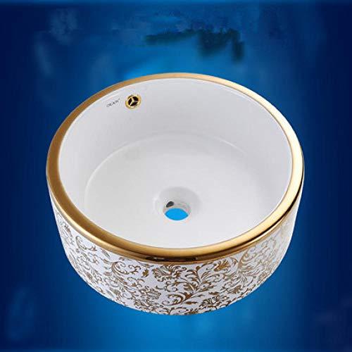 Conjunto de lavabo de cerámica de arte, mezclador de grifo de baño de encimera de lavabo de cerámica para lavabo emergente-49x38x14