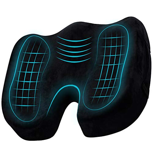 TheComfortZone Quick Relief of Back, Coccyx and Sciatica Pain Memory Foam Seat Cushion. Booster For Car And Office Chair. Improves Posture Without Much Effort