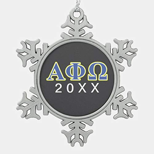 PotteLove Alpha Phi Omega Yellow and Blue Letters Snowflake Pewter Christmas Ornament, Snowflake Pewter Christmas Ornament Custom Name, Date, Photo