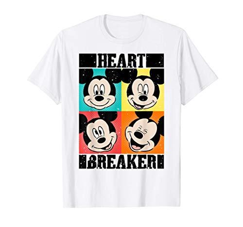 Disney Mickey Mouse Heart Breaker Pop Art Panels Maglietta