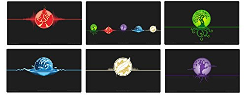 Max-Pro + ALL 6 ICONIC ELEMENTAL Playmats for MTG Mana FORCE OF WILL Pokemon image