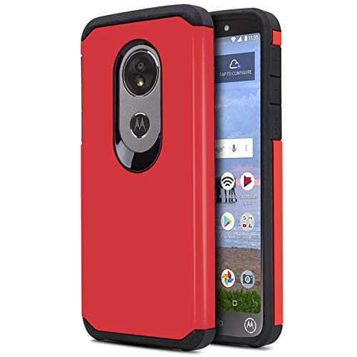 CasemartUSA Phone Case for [Motorola Moto E5 (XT1920DL)], [DuoTEK Series][Red] Shockproof Cover [Impact Resistant][Defender] for Moto E5 (Tracfone, Simple Mobile, Straight Talk, Total Wireless)