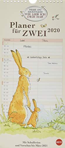 Weißt du eigentlich, wie lieb ich dich hab? Planer für zwei. Wandkalender 2020. Monatskalendarium. Spiralbindung. Format 16 x 34,7 cm