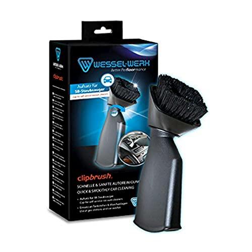 ClipBrush SB-Staubsaugeraufsatz mit 360 Grad schwenkbaren Bürstenkopf für den Einsatz an Waschanlagen und Tankstellen zur schonenden Auto-Innenpflege