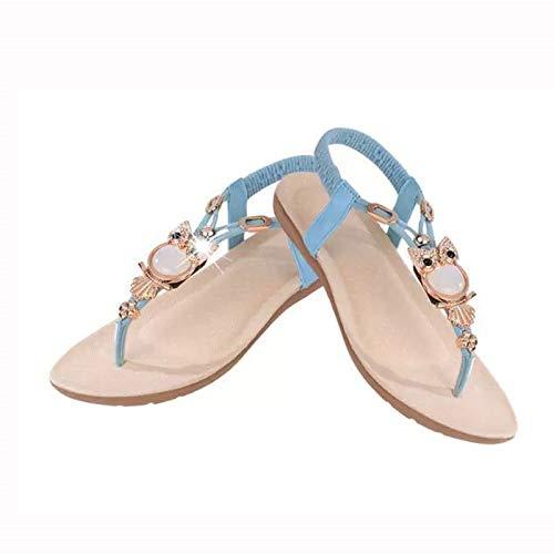 Uil kralen platte sandalen Toe Beach dames sandalen 41 EU blauw