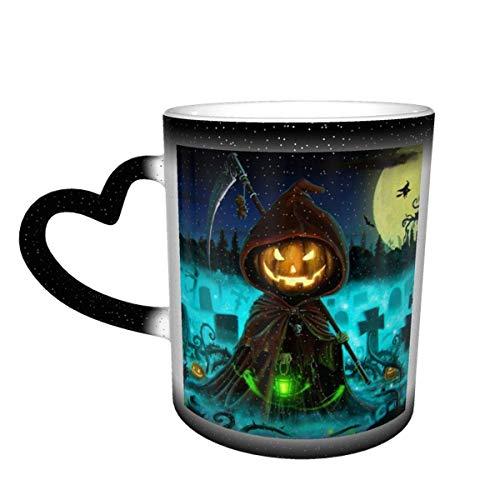 N\A Kürbiskopf-Zauberer und Hexenbesen im gruseligen blauen psychedelischen Wald Farbwechselbecher im Himmel Keramikbecher Kaffeetasse Weihnachtsgeburtstagsgeschenk