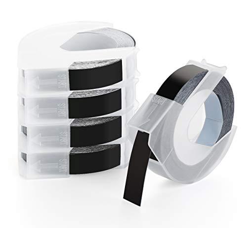 Agoer 3D Prägeband 9mm x 3m, Langlebige Kunststoff Prägebändern für ersatz Dymo Omega 3D Prägeetiketten Weiß auf Schwarzauf kompatibel für S0847730 Prägegeräte Dymo Junior und Omega, 5 Rollen