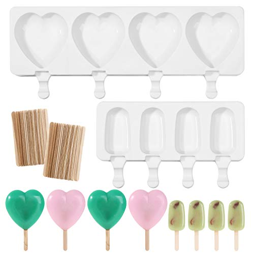 2 Pack Popsicle Molds, 4 Cavities Ice Pop Molds with 100 Pcs Wooden Sticks,Homemade Popsicle Maker,Cakesicle Molds,Oval Heart Ice Cream Silicone Mold for DIY Ice Pops cake pops