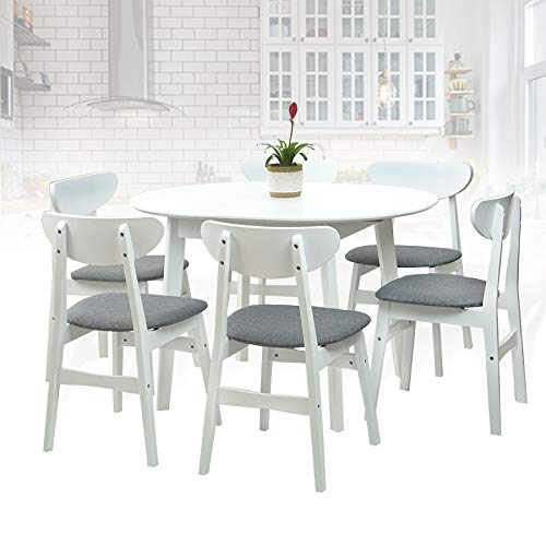 SK New Interiors Dining Room Set of 6 Yumiko Chairs and Extendable Round Dining Table Kitchen Modern Solid Wood w/Padded Seat, White Color with Light Gray Cushion