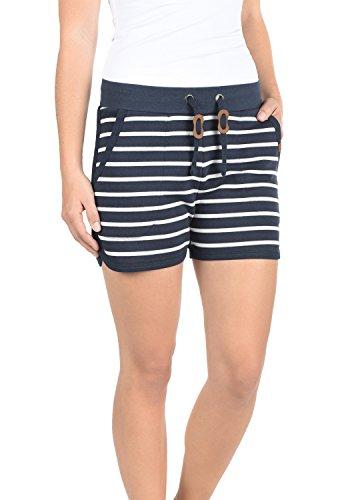 BlendShe Kira Damen Sweatshorts Bermuda Shorts Kurze Hose Mit Fleece-Innenseite Und Streifen-Muster Regular Fit, Größe:S, Farbe:Navy (70230)