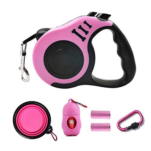 PETIMP Retractable Leash Set 16ft with Waste Bag Dispenser Bowl for Small Medium Dog Cat Rabbit(6 PCs) (Pink)